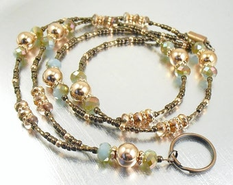Lanyard - Copper, Bronze and Turquoise Beaded ID Lanyard, Badge Holder, Key Chain Necklace