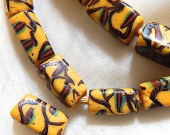 Vintage Trade Beads,  Matched Square Shaped African Trade Beads,  x 4