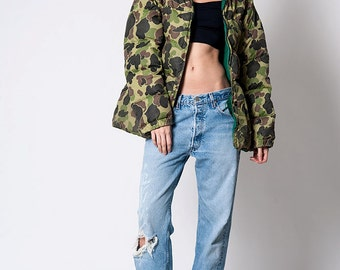 The Vintage Puffy Lightweight Reversible Green Camo Jacket