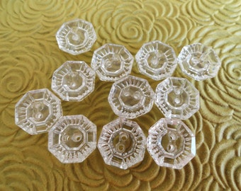 12 Clear Glass Buttons Antique 1940s 1/2 inch 13mm for Jewelry Beads Sewing Knitting Embellishments