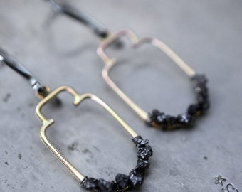 Sanctuary Diamond in the rough...rough black diamond earrings in 14k goldfill and sterling silver