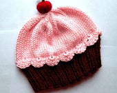 Cupcake Hat with Cherry on Top Dark Chocolate Brown Cake Cotton Candy Frosting hand knit - baby toddler children adult 3 6 9 12 18 months