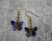 Hand Painted Colorful Butterfly and Pearl Earrings, Butterfly Jewelry, Gifts under 10 dollars, Pink, Purple, Green