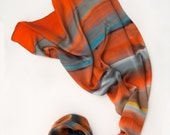 Handpainted silk satin scarf- Tangerine stripes. Luxury scarf Abstract silk painting, Grey orange scarf Luxury scarf shawl Holidays gift mom