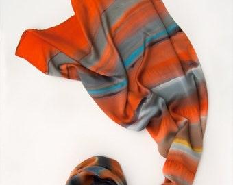 Handpainted silk satin scarf- Tangerine stripes. Luxury scarf Abstract silk painting, Grey orange scarf Luxury scarf shawl Holidays gift mom