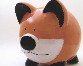 Red Fox Piggy Bank - Personalized Piggy Bank - Woodland Bank - Animal Piggy Bank -  Forest Theme Bank - Ceramic Bank - with hole or NO hole