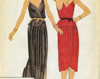 Vintage 70s McCalls 6527 UNCUT Misses Front Wrap Halter Evening Dress with High Low Hem Skirt Sewing Pattern Size 6 Designer Charlotte Ford