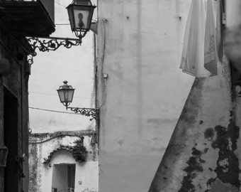 Minori Streets Fine Art Photography Black and White Italy historic buildings ancient city laundry Mediterranean urban picturesque Italian