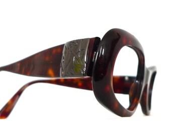 YSL Mod Tortoise Shell Eyeglasses / Big Designer Eyewear. Yves Saint Laurent Sunglasses. SALE