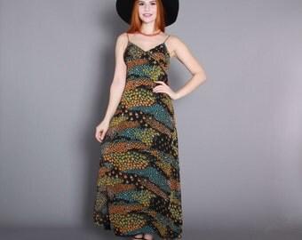 70s FLORAL Boho MAXI DRESS / 1970s Black Chiffon Strappy Sun Dress, xs-s