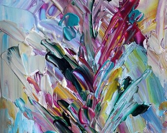 Original Acrylic Abstract Painting on Paper Affordable Original Art Abstract Flowers, Matted 6x6""