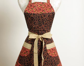 Vintage style Apron- Coral Black and Tan