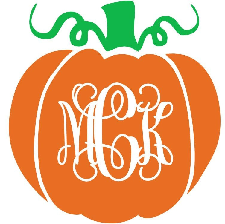 Pumpkin monogram vinyl decal for Monogram pumpkin templates