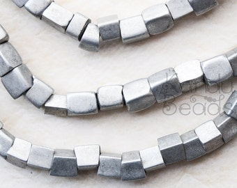 Rustic Handmade Aluminum Irregular Rectangle Beads Silver 5mm-8mm beads 28 inch or 12inch strand CHOOSE YOUR SIZE
