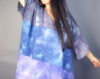ombre boxy tunic - black blue and purple - hand dyed cotton - one size