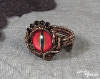 DRAGON EYE RING - wire wrapped adjustable copper ring - steampunk dragon eye jewelry - gothic copper jewelry