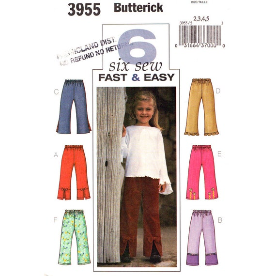 Girls Pants Sewing Pattern Butterick 3933 Slit or Ruffle Hem Trousers Size 2 3 4 5 or 6 7 8