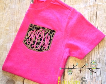 Baby or Toddler Monogrammed Faux Pocket Tee