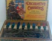 Vintage Antique Set Original Box Christmas Tree Holiday Lights Bulbs Red Blue Graphic