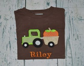 Personalized Pumpkin Tractor Fall shirt or Bodysuit Personalized