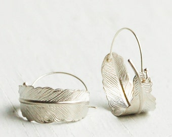Silver FEATHER Hoop EARRINGS Woodland Nature Bird Autumn