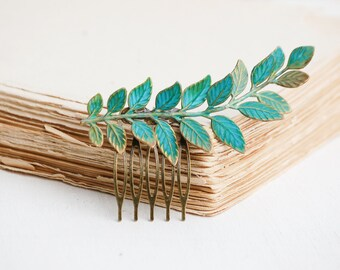 Leaf Hair Comb,Green Leaf Hair Comb,Rustic Wedding,Bridal Hair,Forest Woodland,Green Fern Hair Comb,Fairy Wedding,Bohemian Hair Comb