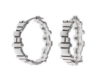 Soft Squares Hoops- handcarved sterling silver hoop earrings