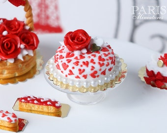 MTO-Valentine's Cake Covered with TIny Hearts and a Red Rose - 1/12 scale miniature food