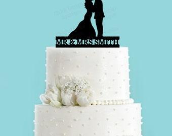 Custom Name and Couple Acrylic Wedding Cake Topper