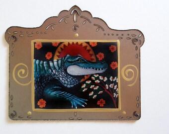 Saint Alligator, Animal Art Print Collage, using Reproduction from my Original Painting, Christina Miller Artist