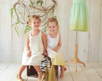 Children's Clothing - Holiday / Special Occasion Dress (Shown on right)  - Shimmery Gold Dots on Cream - Quality Handmade Girl's Dress