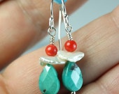 Turquoise earrings with Coral, Keshi pearl, Sterling silver hooks, turquoise jewelry, gift idea for her, Free shipping in Canada, by art4ear