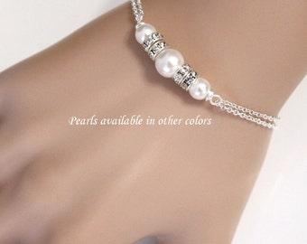 Bridesmaid Bracelet, Swarovski White Pearl Chain Bracelet, Bridal Bracelet, Bridesmaid Gift, Personalized Bridesmaid Gift Bridesmaid Jewelry