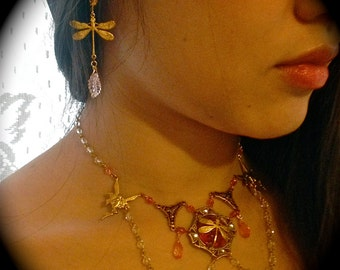 Fairy Romantic Earrings and Necklace Golden Dragonflies and Pink sparkling vintage elegance