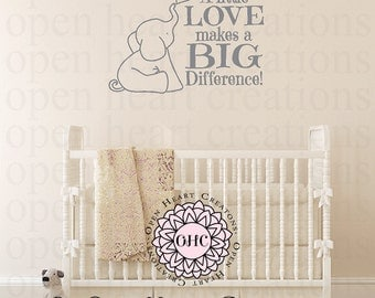Nursery Wall Decal - Elephant Vinyl Decals - Love Makes a Big Different Wall Decal Childrens Saying 22h X 36w CB0022