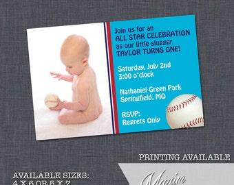 Baseball Birthday Party Invitation - DIY Printable, Boy Birthday Party, First Birthday, Party Invitation.......by Maxim Creative Invites
