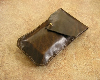 """Cell Phone Sleeve - Brown Leather cell phone bag with ball button 5"""" x 2 3/4, with a ball button"""