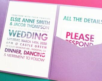 Pocketfold Wedding Invitation - Poster Wedding Invitations - Pocketfold Invitation - Pocket Invitation - Watercolor Wedding Invitations