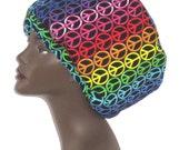 Peace Shower Cap- Cotton Shower Cap- Custom- Reversible Shower Cap- Sku: WWJ286 - Select your hair length