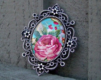 Belle Rose Glass Cameo Brooch Pendant