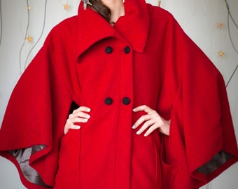 SALE!  40% off Red Wool Cape Coat Size SMALL