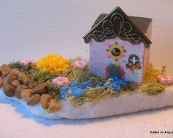 TINY WOODEN HOUSE with a lot of details like flowers grass and a path of stone Adorable and Handmade