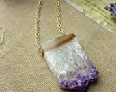 "The ""Gem of fire"" Amethyst necklace, Amethyst slice necklace, Rough amethyst necklace, Raw amethyst necklace"