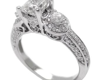 1.26ctw Princess cut antique style diamond engaegment ring P24