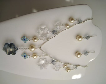 Frozen Inspired Necklace Sterling Silver and Swarovski Crystals with matching Earrings