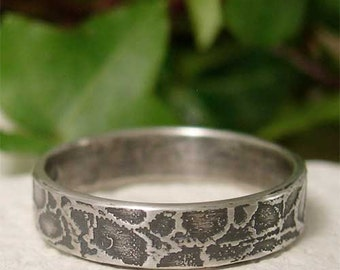 Organic Silver Ring, Womens Sterling Silver Ring Band, Simple Patterned Silver Ring, Hand Forged Sterling Nature Jewelry, Distressed Ring