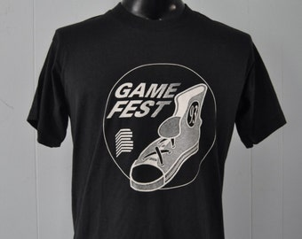 Vintage Tshirt Tee 1993 Game Fest Distressed Faded Black Sports Athletics Field Day Shirt super soft thin LARGE
