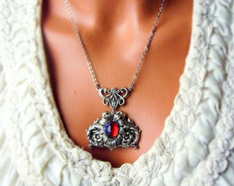 Dragons Breath Necklace Fire Opal Mexican Opal Statement Necklace