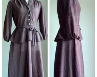Vintage 1980's Dress // Brown Polkadot Dress //  D'Allairds //  Peplum Waist //  Tie Belt Mid Length Dress