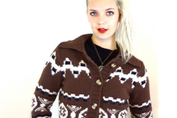 Vintage Brown Angora Knit Cardigan Cream Geometric Pattern Lambswool Sweater Long Sleeve Button Down Big Collar Super Soft 90s Jumper
